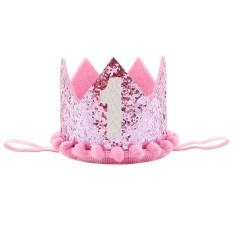 Hình ảnh ĐẦU TIÊN của Trẻ Em hoa tiara, của bé sinh nhật, hiệu suất ảnh, mũ nón, nón lưỡi trai # màu hồng-intl