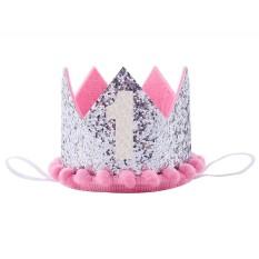 Hình ảnh ĐẦU TIÊN của Trẻ Em hoa tiara, của bé sinh nhật, hiệu suất ảnh, mũ nón, nón lưỡi trai # bạc-intl