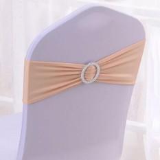 Hình ảnh Gethome 10pcs Spandex Stretch Chair Cover Bowknot Wedding Buckle Slider Sashes - intl