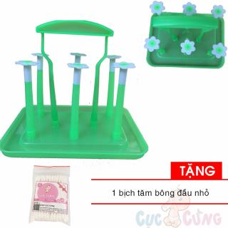 Giá úp phơi bình sữa nhựa vuông đế vuông - Việt Nam Tặng 1 gói tăm bông đầu nhỏ thumbnail