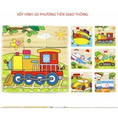 Hình ảnh Giáo cụ Montessori xếp hình phương tiện giao thông 3D bằng gỗ phát triển tư duy hình học dành cho bé