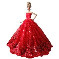Hình ảnh Tuyệt đẹp Cổ Tích Bồ Đồ Chơi Cưới Váy Dự Tiệc Trang Phục Phụ Kiện Búp Bê dành cho Đồ Chơi Bé Gái Đỏ với Kim Sa Lấp Lánh-quốc tế