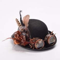 Hình ảnh (Hand Made) Vintage Steampunk Hat Feathers Gear Glasses Gothic Hat Victorian Party Hats - intl