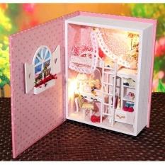 Hình ảnh Hoomeda B004 Cho Bé Màu Hồng Nhật Ký DIY Nhà Búp Bê Hộp Theatre Trẻ Em Bộ Sưu Tập Quà Tặng-intl