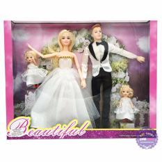 Hình ảnh Hộp đồ chơi búp bê gia đình cô dâu và chú rể có khớp