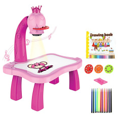 Hình ảnh Kids Children Educational Early Learning Musical Projector Projection Painting Drawing Projector Table Desk Toy Pink - intl