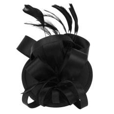 Hình ảnh Kobwa Nữ Đùi Cocktail Sinamay Fascinator Đảng Tóc Cô Dâu Mũ Đợi Đầu Đa Năng Màu Đen-intl
