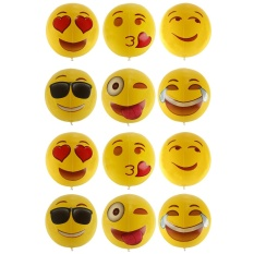 Hình ảnh kobwa Inflatable 12'' Emoji Design Beach Balls Bulk Inflate Toy Party Favors for Kids,12-Pack - intl
