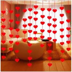 Hình ảnh Rèm Cửa Trái Tim Tình Yêu vải Không dệt Vòng Hoa Lá Cờ Biểu Ngữ Cưới Trang Trí-quốc tế