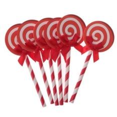 Hình ảnh MagiDeal 24 cái Que Mềm Kẹo Que Bánh Topper Cupcake Phím Đám Cưới Sinh Nhật Bánh Trang Trí-Đỏ-quốc tế