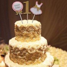 Hình ảnh MagiDeal CHO BÉ GIRL1st Sinh Nhật Quần Áo Ăn Mừng Đảng Bánh Topper Bánh Trang Trí Màu Hồng-intl