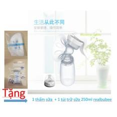 máy hút sữa bằng tay real bubee ,2 cấp độ hút ( tặng 1 lót thấm sữa + 1 túi trữa sữa )