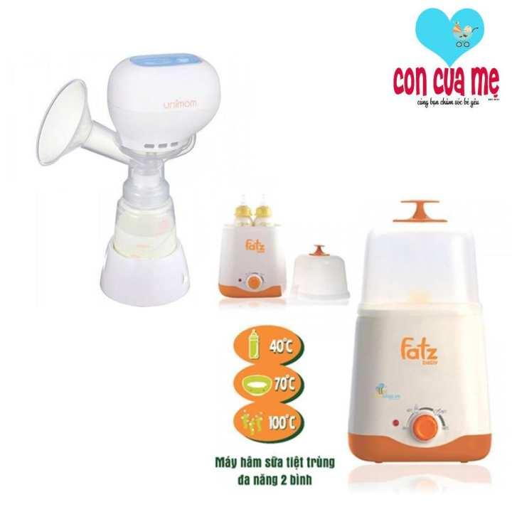 Máy hút sữa điện đơn Kpop Unimom UM871104 và Máy hâm sữa tiệt trùng 2 bình cổ rộng FatzBaby FB3011SL