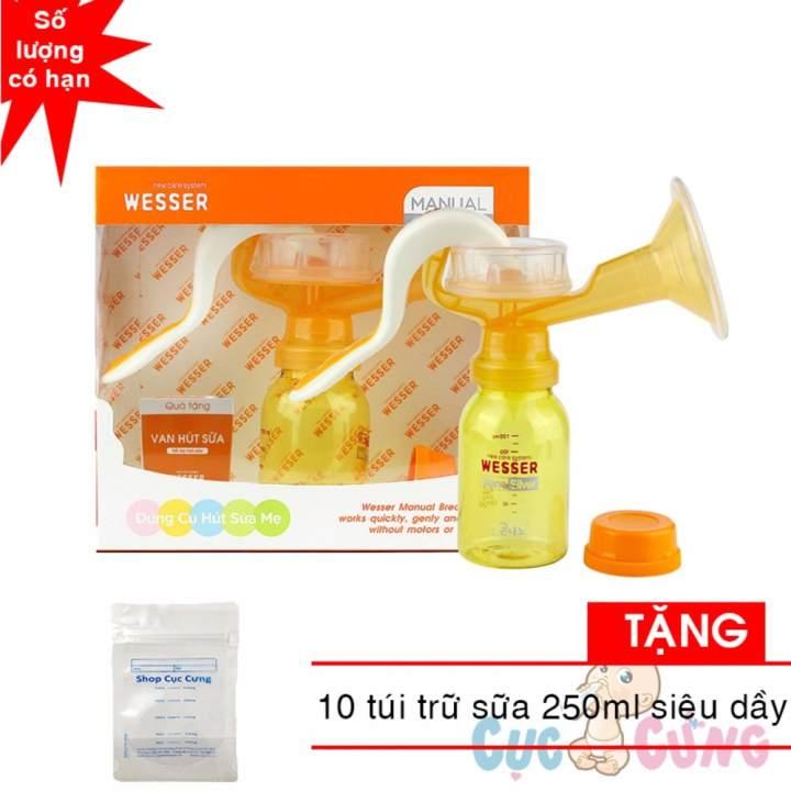 Máy hút sữa WESSER bằng tay TẶNG 10 túi trữ sữa siêu dầy 250ml Shop Cục Cưng