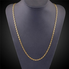 Hình ảnh Men Jewelry Gold Plated 2mm Stripe Chain Necklace Jewelry 16-30 Inch Gold 61cm - intl