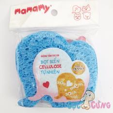 Miếng tắm bọt biển Cellulose tự nhiên Mamamy - hình voi xanh