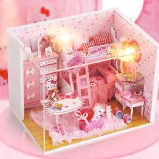 Hình ảnh Mô hình nhà gỗ DIY- Nhà búp bê Mèo Hồng