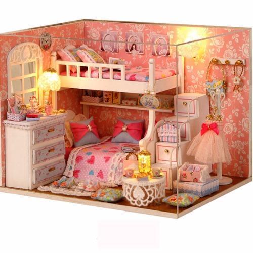 Hình ảnh Mô hình nhà gỗ DIYcăn phòng búp bê(Hồng)