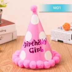 Hình ảnh Mũ sinh nhật chấm bi hồng cho bé gái MS01