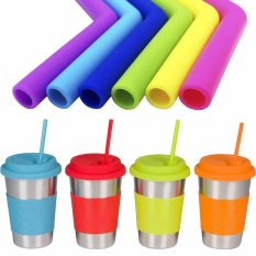 Hình ảnh Multicolour Long Drinking Straws Party Bar Food Grade Recycling Silicone - intl