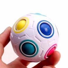 Hình ảnh Mới mới lạ Trắng Cầu Vồng Ma Thuật bóng đá Nhựa Tốc Độ Khối Lập Phương Xoắn Đồ Chơi Xếp Hình-quốc tế