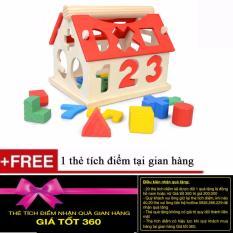 Hình ảnh Ngôi nhà thả hình gỗ phát triển trí tuệ cho bé + Tặng kèm 1 thẻ tích điểm Giá Tốt 360