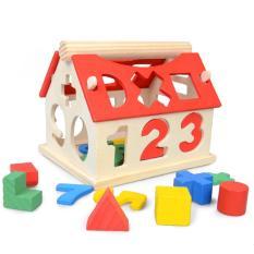 Hình ảnh Nhà gỗ ghép,thả hình và số cho bé