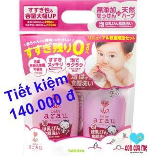 Combo nước rửa bình Arau baby dạng chai 500ml và túi thay thế 450ml thumbnail