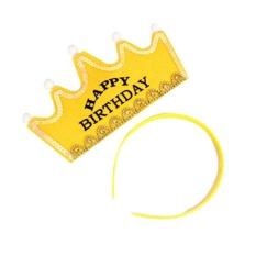 Hình ảnh OH Đáng Yêu Vua Công Chúa Trẻ Em Trẻ Em Sinh Nhật Sáng ĐÈN LED Phát Mũ Triều Màu Vàng-quốc tế