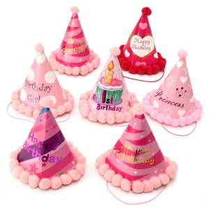 Hình ảnh Paper Cone Hats Kids Adults Dress Party Supplies Birthday Celebration Gifts Pink My 1st birthday - intl