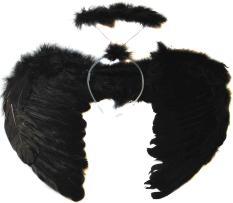 Hình ảnh Party Costume Feather Black Dark Angel Wings Halo Halloween Fancy Dress Gothic - intl