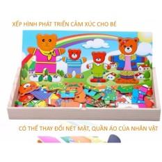Hình ảnh Phương pháp Montessori xếp hình các nhân vật hoạt hình bằng gỗ phát triển cảm xúc dành cho bé