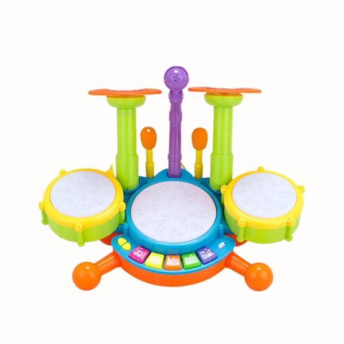 Pontus WangWang Store Kids Dynamic Flash Light Toy Drum Set with Adjustable Microphone .