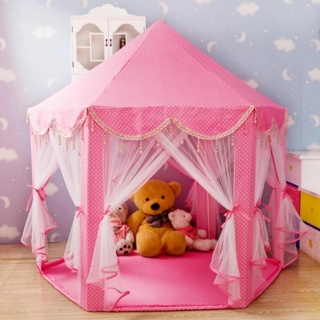 Portable Princess Play Tent Outdoor Kids Castle Toy (Pink) - intl thumbnail