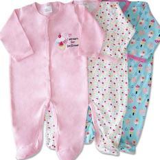 Giá Bán Set 3 Bộ Body Dai Tay Liền Tất Baby Gear Hang Xuất Dư Đẹp Cho Be Gai Rẻ Nhất