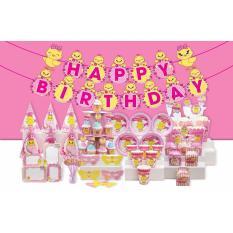 Hình ảnh set trang trí bàn tiệc chủ đề gà hồng