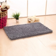 Shaggy Microfibre Bathroom Shower Bath Mat Rug Carpet Non-Slip Backing Grey - intl