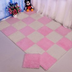Hình ảnh Soft Interlocking Foam Floor Puzzle Play Mat Suede Pad Baby Kids Crawling Play(Pink) - intl