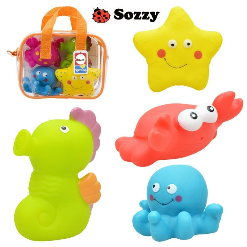 Sozzy 4Pcs/ Set Baby Bath Squirters Tub Toys Soft Plastic Ocean Toy