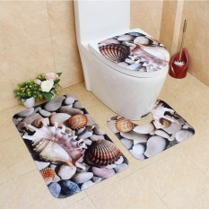 Star Mall 3Pcs/Set Cute Creative 3D Sea Ocean Fish Shell Animals Bathroom Rug Toilet Lid Cover Mat Set Non-Slip Cartoon Foot Mat Water Absorb Anti-Skid Carpet Style Seashells