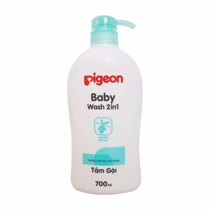 Sữa tắm gội em bé Pigeon 2in1 Chai 700ml( Xanh)