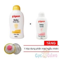 Sữa tắm gội Pigeon hoa hướng dương 200ml + Phấn rôm Pigeon 100gr Tặng 1 Hộp đựng phấn rôm màu ngẫu nhiên