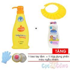 Sữa tắm gội Wesser 500ml - Cam + Phấn dưỡng ẩm cho trẻ Kodomo 180g - hồng + 1 nón tắm màu ngẫu nhiên Tặng Hộp đựng phan + bao tay tắm màu ngẫu nhiên - sua tam goi