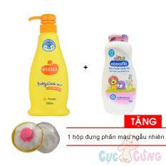 Sữa tắm gội Wesser 500ml - Cam + Phấn dưỡng ẩm cho trẻ Kodomo 180g - hồng Tặng 1 Hộp đựng phan rôm màu ngẫu nhiên - sua tam goi