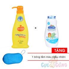 Sữa tắm gội Wesser 500ml - Cam + Phấn ngừa rôm sẩy Kodomo 180g - xanh Tặng Bông tắm màu ngẫu nhiên