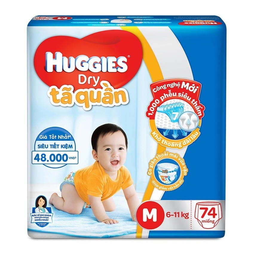 Bán Ta Quần Huggies Dry Pants Super Jumbo M74 5 10Kg Bao Bi Mới Huggies Rẻ