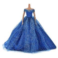Hình ảnh Kéo Váy Đầm cho Barbies Búp Bê Trẻ Em Đồ Chơi Búp Bê Sợi Lưới Barbies Đầm Xanh Dương-quốc tế