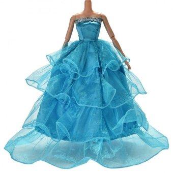 Kéo Váy Đầm cho Barbies Búp Bê Trẻ Em Đồ Chơi Búp Bê Sợi Lưới Barbies Đầm Xanh Dương-quốc tế