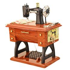 Hình ảnh Treadle Sewing Machine Style Musical Box Mini Handmade Classic Vintage Retro Birthday Gift Toys Music Box Home Decoration - intl