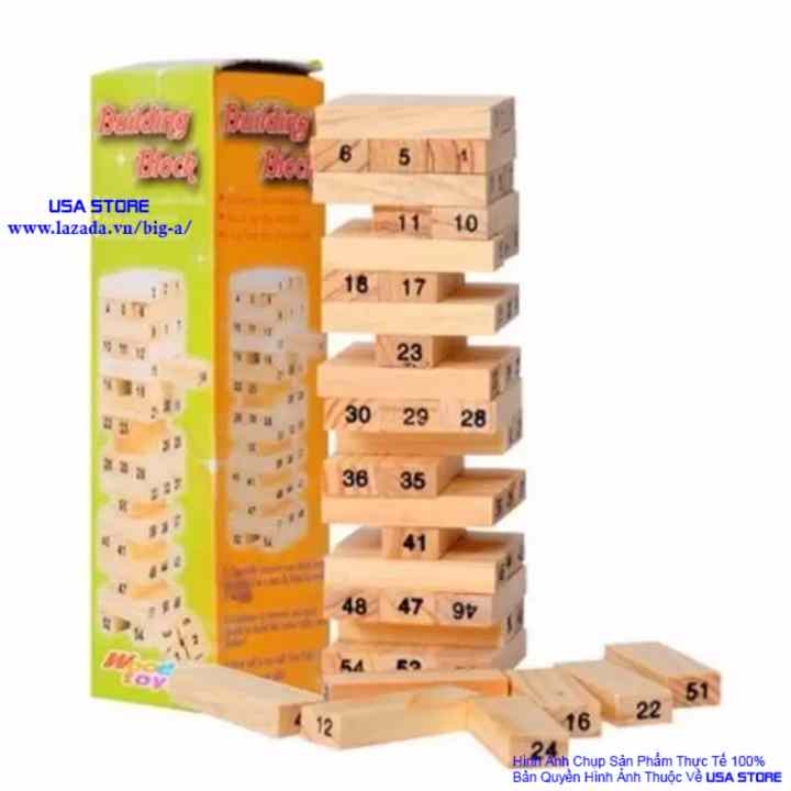 Trò chơi rút gỗ 54 thanh USA Store (Nâu gỗ)